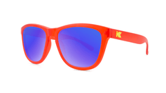 Knockaround Kids Sunglasses Red Frames with Blue Moonshine Lenses, Threequarter