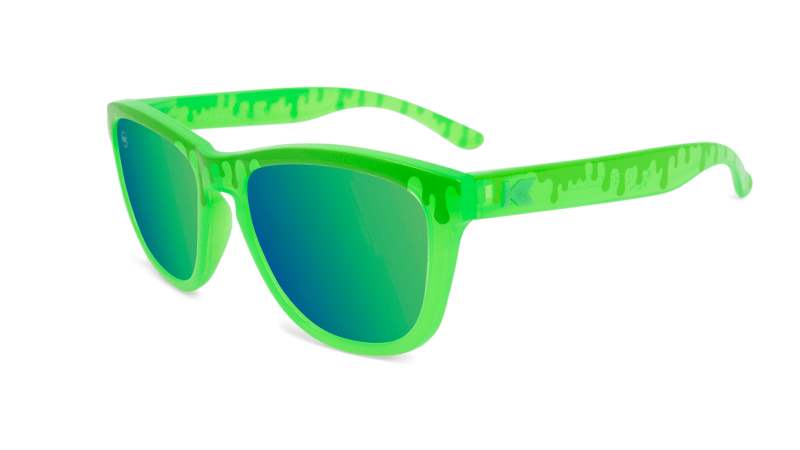 Kids Sunglasses with Glossy Green Frame and Green Lenses, Flyover