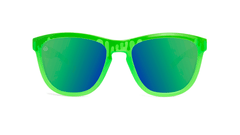 Kids Sunglasses with Glossy Green Frame and Green Lenses, Front