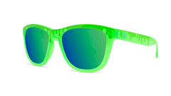 Kids Sunglasses with Glossy Green Frame and Green Lenses, Threequarter