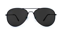 Mile High Sunglasses with Black Frames and Polarized Black Smoke Lenses, Front