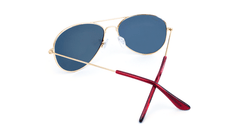 Mile High Sunglasses with Gold Metal Frames and Polarized Red Sunset Mirrored Lenses, Back