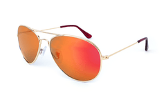 Mile High Sunglasses with Gold Metal Frames and Polarized Red Sunset Mirrored Lenses, Flyover