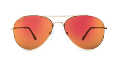 Mile High Sunglasses with Gold Metal Frames and Polarized Red Sunset Mirrored Lenses, Front