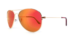 Mile High Sunglasses with Gold Metal Frames and Polarized Red Sunset Mirrored Lenses, ThreeQuarter