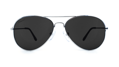 Mile High Sunglasses with Silver Frames and Polarized Black Smoke Lenses, Front