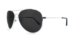 Mile High Sunglasses with Silver Frames and Polarized Black Smoke Lenses, Three Quarter