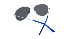 Mile High Sunglasses with Silver Frames and Polarized Blue Moonshine Mirrored Lenses, Back