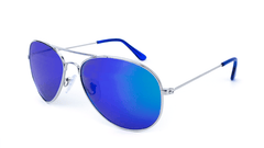 Mile High Sunglasses with Silver Frames and Polarized Blue Moonshine Mirrored Lenses, Flyover