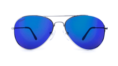 Mile High Sunglasses with Silver Frames and Polarized Blue Moonshine Mirrored Lenses, Front