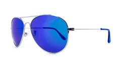 Mile High Sunglasses with Silver Frames and Polarized Blue Moonshine Mirrored Lenses, Three Quarter