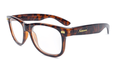 Rx Fort Knocks with Glossy Tortoise Shell Frames and Prescriptions Lenses, Flyover