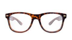 Rx Fort Knocks with Glossy Tortoise Shell Frames and Prescriptions Lenses, Front