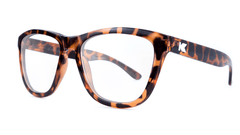 Rx Premiums with Glossy Brown Tortoise Shell Frames and Prescriptions Lenses, ThreeQuarter