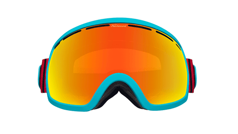 Snow Goggles with Turquoise Frame and Sunset Lens, Hard Case