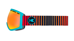 Snow Goggles with Turquoise Frame and Sunset Lens, Side