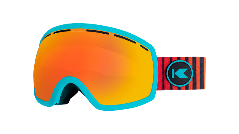 Snow Goggles with Turquoise Frame and Sunset Lens, Threequarter
