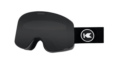 Snow Goggles with Black Frame and Smoke Lens, Threequarter