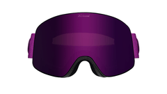 Snow Goggles with Black Frame and Purple Lens, Front