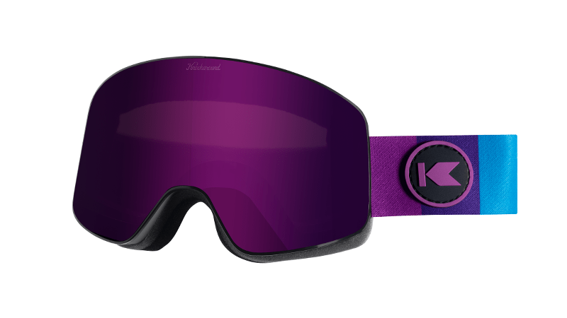 Snow Goggles with Black Frame and Purple Lens, Threequarter