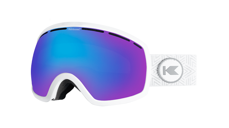 Snow Goggles with White Frame and Snow Opal Lens, Threequarter