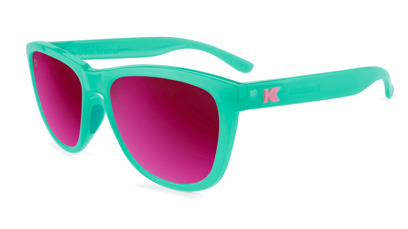 Sport Sunglasses with Aquamarine Frame and Polarized Fuchsia Lenses, Flyover