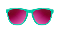 Sport Sunglasses with Aquamarine Frame and Polarized Fuchsia Lenses, Front