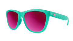 Sport Sunglasses with Aquamarine Frame and Polarized Fuchsia Lenses, Threequarter