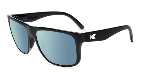 Sunglasses with Glossy Black Frames and Polarized Sky Blue Lenses, Flyover