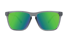 Sport Sunglasses with Clear Grey Frame and Polarized Green Moonshine Lenses, Front