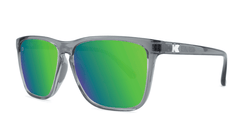Sport Sunglasses with Clear Grey Frame and Polarized Green Moonshine Lenses, Threequarter