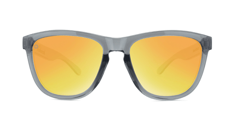 Sport Sunglasses with Clear Grey Frame and Polarized Orange Sunset Lenses, Back