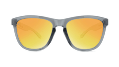 Sport Sunglasses with Clear Grey Frame and Polarized Orange Sunset Lenses, Front