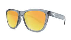 Sport Sunglasses with Clear Grey Frame and Polarized Orange Sunset Lenses, Threequarter