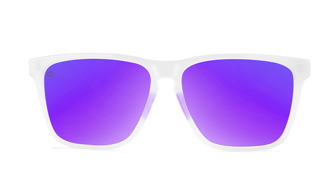 Sport Sunglasses with Clear Jelly Frame and Polarized Purple Lenses, Back