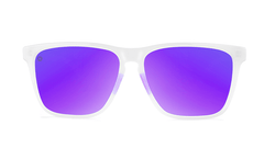 Sport Sunglasses with Clear Jelly Frame and Polarized Purple Lenses, Front
