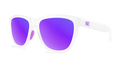 Sport Sunglasses with Clear Jelly Frame and Polarized Purple Lenses, Threequarter