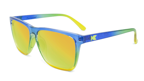 Sunglasses with Glossy Blue to Yellow Fade and Polarized Yellow Lenses, Flyover