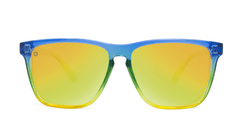 Sunglasses with Glossy Blue to Yellow Fade and Polarized Yellow Lenses, Front