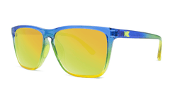 Sunglasses with Glossy Blue to Yellow Fade and Polarized Yellow Lenses, Threequarter