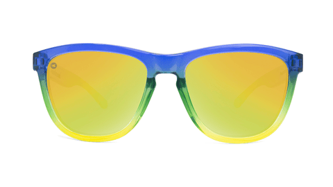 Sunglasses with Glossy Blue to Yellow Fade and Polarized Yellow Lenses, Back