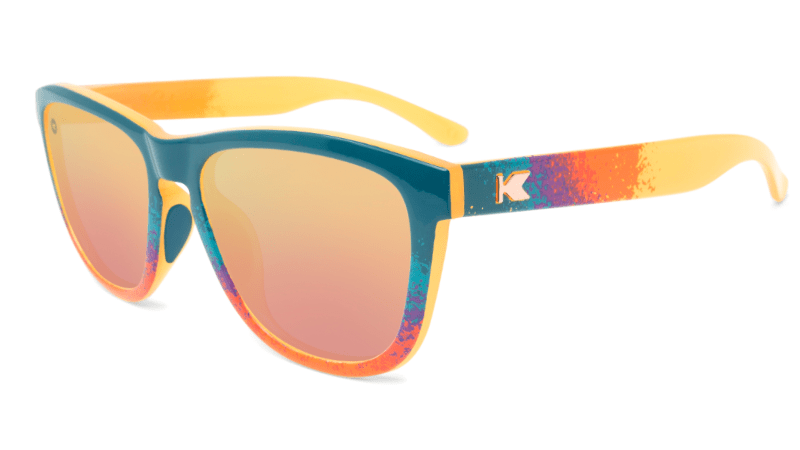 Sunglasses with Speckled Sunset Frames and Polarized Rose Gold Lenses. Flyover