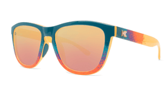 Sunglasses with Speckled Sunset Frames and Polarized Rose Gold Lenses. Threequarter