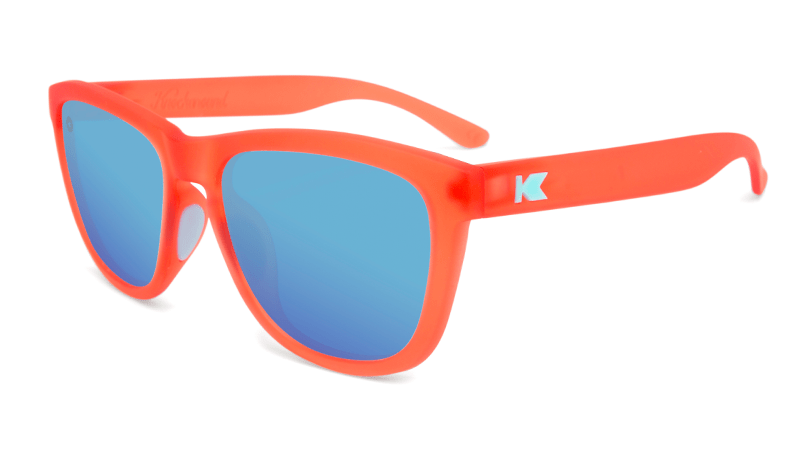 Sport Sunglasses with Fruit Punch Red Frames and Polarized Aqua Lenses, Flyover