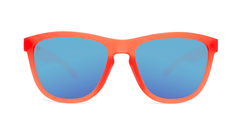 Sport Sunglasses with Fruit Punch Red Frames and Polarized Aqua Lenses, Front