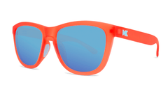 Sport Sunglasses with Fruit Punch Red Frames and Polarized Aqua Lenses, Threequarter