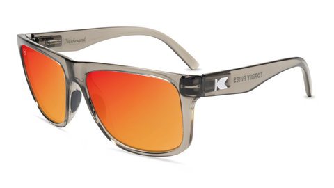 Sunglasses with Clear Grey Frames and Polarized Red Sunset Lenses, Flyover