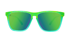 Sport Sunglasses with Green Frames and Polarized Green Moonshine Lenses, Front