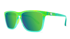 Sport Sunglasses with Green Frames and Polarized Green Moonshine Lenses, Threequarter