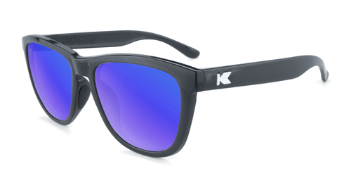 Sport Sunglasses with Jelly Black Frame and Polarized Blue Moonshine Lenses, Flyover